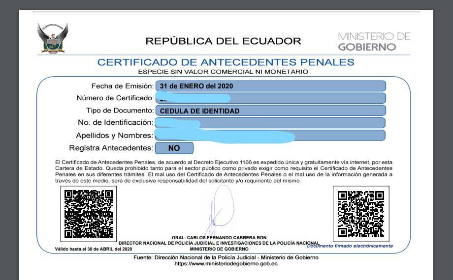 Modelo del certificado de antecedentes penales