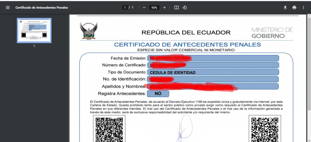 El documento legal que demuestra los antecendentes penales de una persona en Ecuador